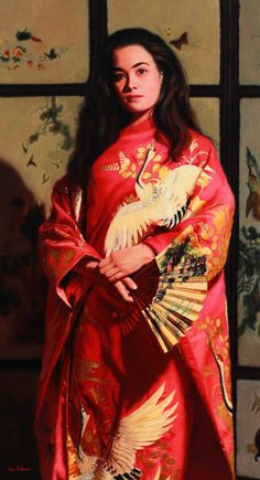 https://flic.kr/p/wAoxLx | Kimono with white Cranes_By vicki Sullivan_Oil on Linen 90cm x 66cm | Oil painting#Portrait Artists Australia#Portrait commission#Australian Artist#Kimono#Wedding kimono#Chinese Screen#Original Oil painting#Portrait artist#Portrait from Photos#Angel Academy of Art#Florence Italy#Mornington Peninsula Art#White Crane#Peace#Japanese Kimono#Art Renewal Centre#Associate living Master#Academic Painting#Representational Painting#Classical painting#