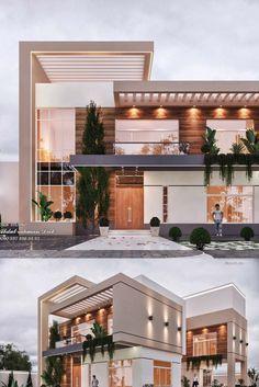 Modern Exterior House Designs, Modern House Facades, Modern Villa Design, Dream House Exterior, Exterior Houses, Bungalow House Design, House Front Design, Small House Design, Dream Home Design