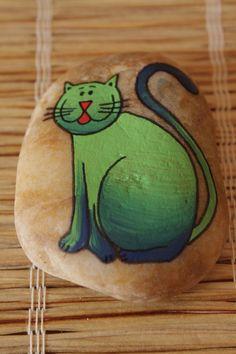 malovaný kámen - kočka