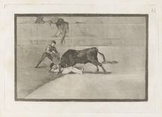 Francisco Goya, Spanish, 1746–1828 La desgraciada muerte de Pepe Illo en la plaza de Madrid (The Unlucky Death of Pepe Illo in the Ring at Madrid), from the series La tauromaquia  1816 Etching, burnished aquatint, drypoint and burin plate: 24.5 x 35 cm (9 5/8 x 13 3/4 in.); sheet: 31.5 x 44 cm (12 3/8 x 17 5/16 in.) The Arthur Ross Collection 2012.159.38.33