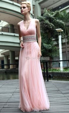 7baa52eccc Elegant A-line V-neck Sashes Floor-length Prom Homecoming Dress   Tidebuy