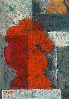 """Galleria scorrevole.                                         Sergio Cerchi, italian painter (Firenze), """"Horse"""", gouache."""