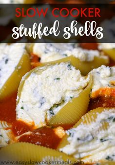 Easy Slow Cooker Dinner - Stuffed Shells....My family LOVED this!  Perfect for anytime, but esp this summer when you don't want to heat up the whole house with the oven!!