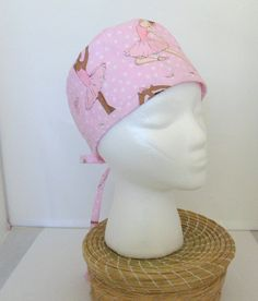 Surgical Scrub Cap Pink Cotton Surgical Scrub Cap Ballerina Fabric Scrub Cap for Women by Quiltwear on Etsy