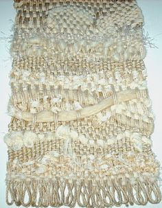 Cecile Meraglia _ Test weaving on a frame of fortune, a wire hanger transformed into a rectangle, an old kitchen fork to comb and a variety of textiles, wool, strips of lace, gauze, cotton warp yarn to crochet.