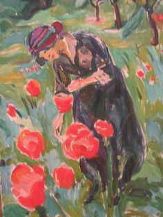 edvard munch.  Woman with Poppies.  1919.