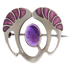 Early Theodore Fahrner Sterling Plique a Jour brooch  Germany  1910  Metal: Sterling Silver  Stone: Amethyst