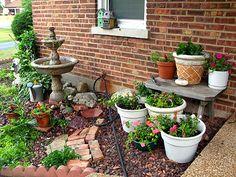 pequeños jardines con fuente