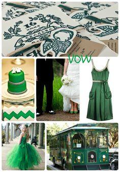VOW - Winter wedding, emeral green