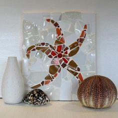 Spiny Starfish mosaic sea shell coastal art by michelewebber, £48.00