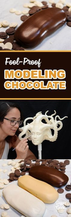 How to make fool-proof modeling chocolate! Whether it's candy melts, white chocolate, dark chocolate or you want to use glucose instead of corn syrup. We've got all the ratios, recipes, tips and techniques for success every time.