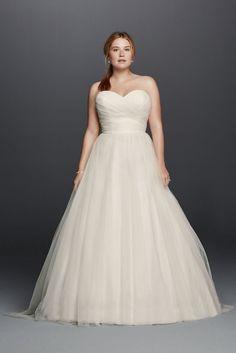 Extra Length Plus Size Strapless Sweetheart Tulle Wedding Dress - White, 16W