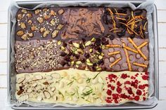 Three types of chocolate and nine (yes nine!) toppings makes this bark a chocoholics dream. Use good quality chocolate for this recipe and you (or your resident chocoholic) will be deliriously happy with the results. Types Of Chocolate, Chocolate Bark, Pick And Mix, Chocolates, Alice, Sweets, How To Make, Christmas, Recipes