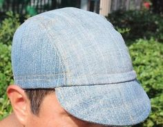 9272941d390 Cycling-cap-VINTAGE-DENIM-one-size-100-COTTON-handmade-new