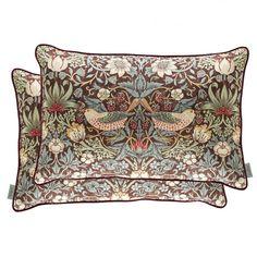 William Morris Cushion Strawberry Thief Chocolate Slate