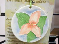 TRILLIUM Ceramic-Watercolor Ornament for wall by FaithAnnOriginals