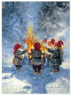 Svein Solem, Norwegian - This is the fire where Gnome love songs using Gjohn Denver sing along tapes were used. Gnomes are not at all bashful to sing, 'Gannie's Song' just for you. Christmas Gnome, Christmas Mood, Vintage Christmas, Holiday, Norwegian Christmas, Scandinavian Christmas, Woodland Creatures, Fantasy Creatures, Yule