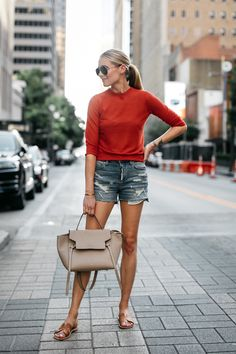 Fashion Jackson Vince Red Orange Sweater Denim Ripped Shorts Celine MIni Belt Bag Tan Ancient Greece Sandals Celine Aviator Sunglasses