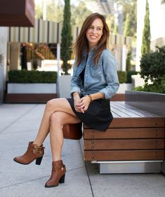 Sydne Style how to wear a chambray shirt leather skirt tan boots coganc
