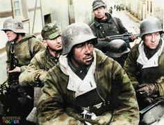 Mixied group of german troops. March, 1945, north of the rhine, Germany