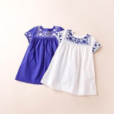 Kid Girls Vintage Floral Embroider Dresses Cute Princess Kid Girl Summer Classic Stylish Dress Blue And White Color 2-9T Dresses Online with $9.37/Piece on Smartmart's Store | DHgate.com