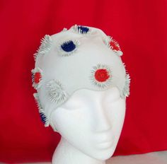 Vintage 1960s Flower Swim Cap Red Blue by RebeccasVintageSalon, $42.00