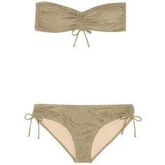Prism Fortalenza Jacquard Bandeau Bikini Set (335 AUD) ❤ liked on Polyvore featuring swimwear, bikinis, green, green bikinis swimwear, green bandeau bikini, bikini swimwear, bandeau bikini and bikini two piece