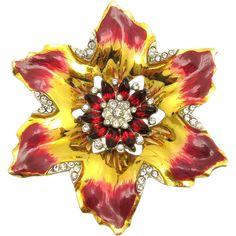 Gorgeous and rare CoroCraft sterling Hibiscus flower brooch with incredible enameling, a center of prong set ruby red crystal rhinestones all with an