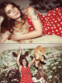 SPIN magazine Wavves and Best Coast shoot  Bethany Cosentino & Snacks the cat