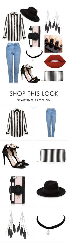 """B&W"" by ladannystyles02 on Polyvore featuring Balmain, Topshop, STELLA McCARTNEY, New Look, Kate Spade, Maison Michel, Charlotte Russe and Lime Crime"