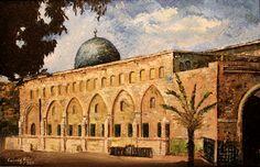 "East View of Al-Aqsa Mosque by Fareeda Alaidi | Oil on Canvas | Knife Technique | 24"" X 36"" | $500.00 at fareedaart.com | Fareeda Alaidi Art & Paintings | Fareeda Art"