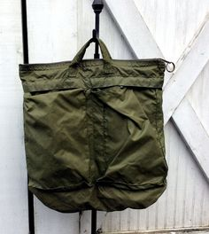 Vintage Authentic Nylon Military Helmet Bag by MADVintology