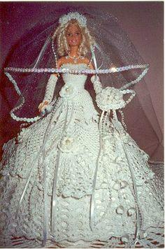 Barbie bride in pretty crochet wedding dress.