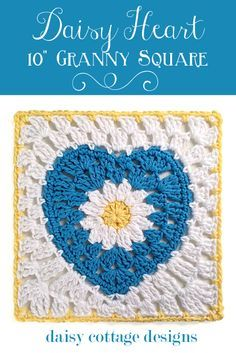 "10"" Crochet Square with Daisy Center from Daisy Cottage Designs #free #crochet #Pattern"