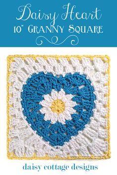 #crochet, free pattern, Granny Square, Daisy, Heart, tutorial, #haken, gratis patroon (Engels), hart, bloem, granny square, deken, sprei, kraamcadeau, haakpatroon