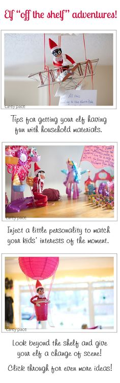 {Elf on the Shelf ideas} Tutorial for fantastic adventures for your family elf. I love that these use items you likely already have around the house! Great ideas by @Carey Pace for Peanut Blossom.