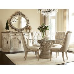 Jessica McClintock The Boutique Round Dining Room Set (White Veil)
