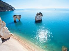 Baia delle Zagare, Puglia In Puglia's Gargano region (between Vieste and Mattinata) lies this powder-sand beach named after the indigenous local flower that blooms here in spring. Surrounded by protected parkland and with two white-rock formations set between varying shades of turquoise sea, the spot can be almost exclusively yours outside the high season of July and August.