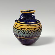 Greek glass aryballos, late 6th-5th century BCE. Collection of the Metropolitan Museum of Art.