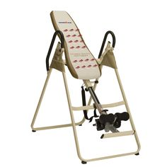 This Ironman Inversion Table features infrared heat therapy that helps to relieve back pain and discomfort. Able to support up to 300 pounds and a wide range of heights, it is adjustable for multiple inversion angles, and easy to fold and store.