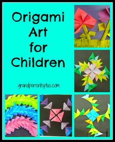 Lots of design ideas using two origami folds. Create 3-dimensional designs and pictures of all kinds. Elementary kids find this fascinating and fun to do! #origami #kids art #art for kids   www.grandparentsplus.com
