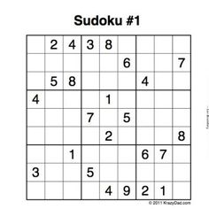 Free printable Sudoku puzzles - choose according to level of difficulty