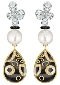 """""""Mystérieuse"""" #Earrings from #TalismansDeChanel - #Chanel - #FineJewellery collection in 18K white and yellow gold set with #Diamonds, cultured #Pearls, rock crystal cabochons and black lacquer july 2015 ---"""