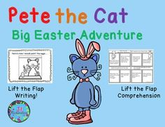 """$ Pete the Cat Big Easter Adventure is a classroom favorite! TAKE A PREVIEW PEEK! Use these activities in a small guided reading group, literacy center or as independent work. Includes: A Lift the Flap Comprehension Foldable A Lift the Flap """"Here's how I would paint the eggs..."""" Foldable A write two ways Pete helped the Easter bunny printable"""