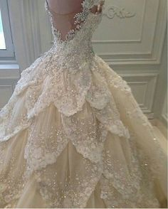 Luxurious Off the Shoulder Beading Wedding Dress Crystal Tiered Chapel Train Bri. Luxurious Off the Shoulder Beading Wedding Dress Crystal Tiered Chapel Train Bridal Gowns Dream Wedding Dresses, Wedding Gowns, Wedding Bells, Tiered Wedding Dresses, Wedding Dress Bling, Disney Inspired Wedding Dresses, Fairy Wedding Dress, Weeding Dress, Bridesmaid Dresses