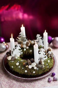 traditional advent wreath but with white candles