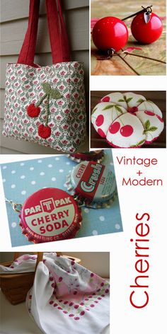 vintage cherry red and turquois