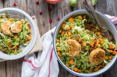 Brussels Sprouts Salad With Butternut Squash + Pomegranate.