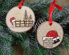 Santa madera abedul quemado sector navidad ornamento mano quemado pintado juego de 2