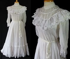 Jessica McClintoch Bridal Gown White Victorian Reenactment Costume Dress by PetticoatsPlus on Etsy